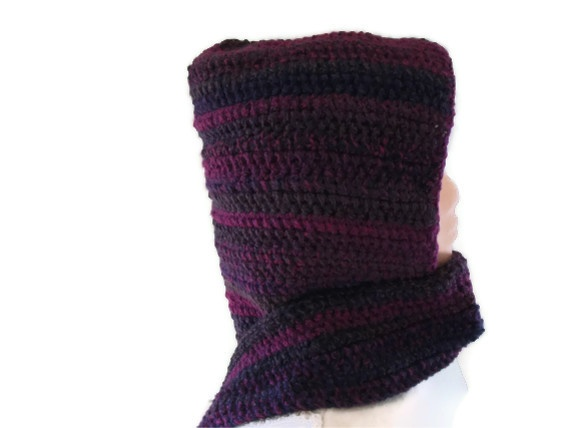 CLEARANCE SALE Hood & Scarf All in One in Plum and Navy £9.50