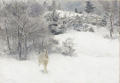 1722. Bruno Liljefors, Hare i vinterlandskap