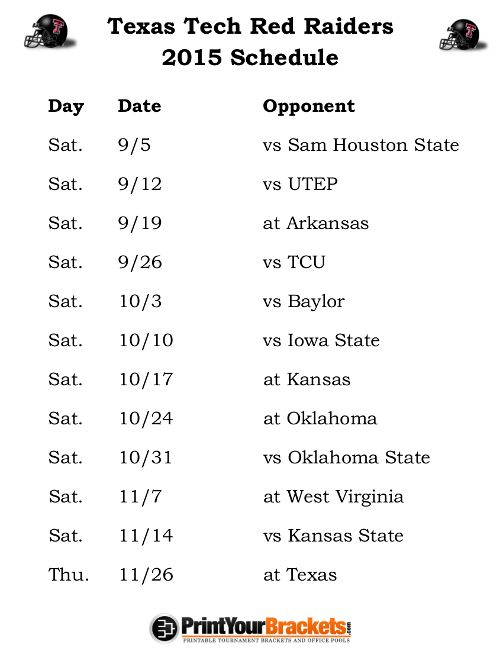 Printable Texas Tech Raiders Football Schedule 2015