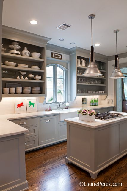 gray & white with open shelving