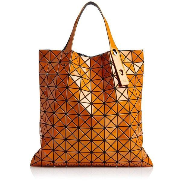 Bao Bao Issey Miyake Prism Gloss Tote ($595) ❤ liked on Polyvore featuring bags, handbags, tote bags, man tote bag, man bag, orange handbags, tote handbags and handbags tote bags