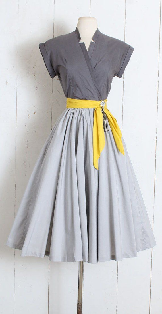 Vintage 1950s Dress vintage 50s Marion McCoy grey yellow  60d994133bb
