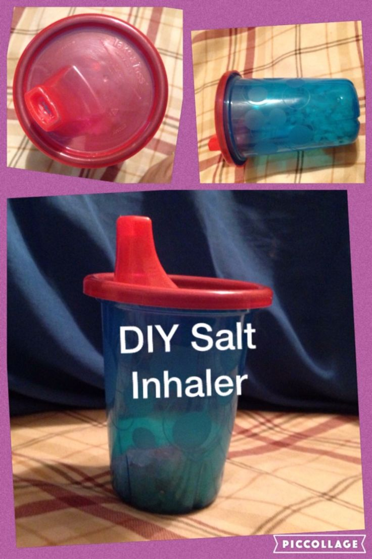 DIY Himalayan salt inhaler. I used a Take and Toss sippy cup.  Used ice pick to poke holes around the bottom perimeter, Xacto knife to widen holes in spout. Works great!                                                                                                                                                                                 More