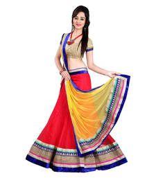 Buy Red georgette embroidered unstitched lehenga-choli ghagra-choli online