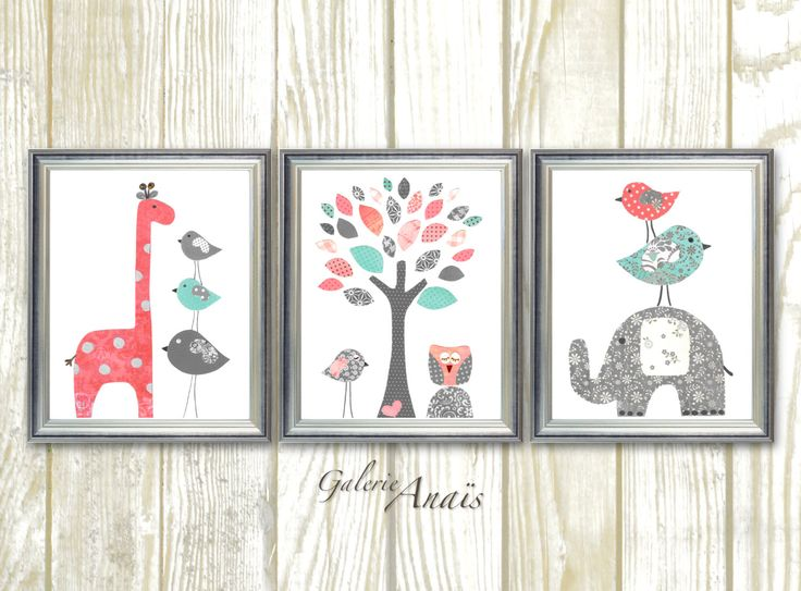 Coral and Turquoise Baby Girl Nursery Decor Elephant Giraffe Tree Birds Baby Nursery Wall Art Set of three prints by GalerieAnais on Etsy https://www.etsy.com/uk/listing/200490955/coral-and-turquoise-baby-girl-nursery