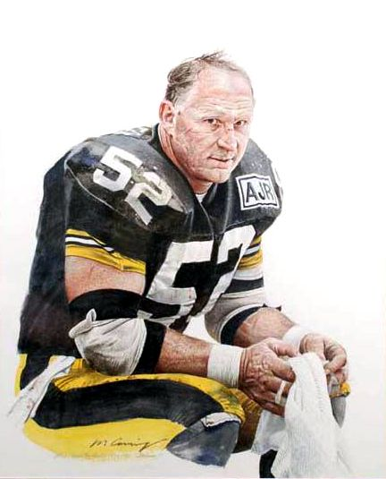 Late Great #STEELERS #SteelerNation Center MIKE WEBSTER Portrait of Pittsburg Steelers Mike Webster by Merv Corning