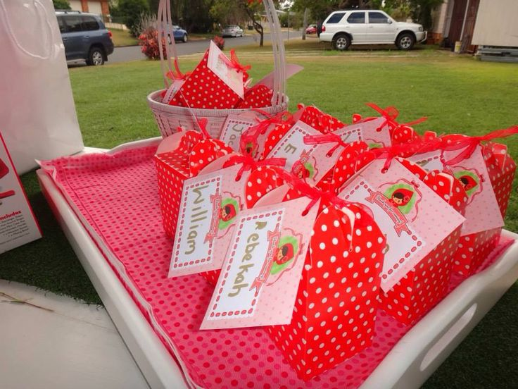Favour bags - red riding hood birthday