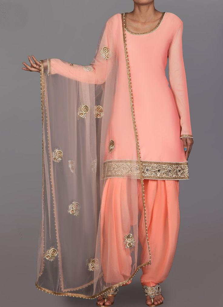 Coral  Silk Embroidered Punjabi Suit