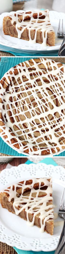 Giant Cinnamon Roll Cookie Cake! A cookie rolled like a cinnamon roll! Lots of cinnamon and vanilla glaze!