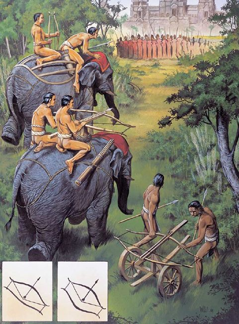 """Elephant-mounted and wheeled double-bow siege crossbows at Angkor, Cambodia 1177"""