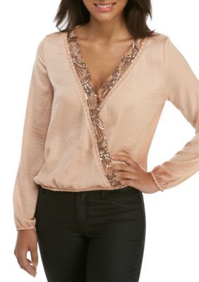 Living Doll Girls' Glitter Surplus Top - Rose Gold - Xs