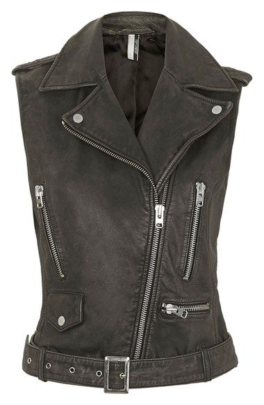 Topshop 'Sylvia' Leather Biker Vest (Nordstrom Exclusive) | Nordstrom