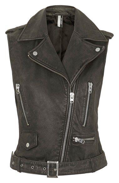 Topshop 'Sylvia' Leather Biker Vest (Nordstrom Exclusive) | Nordstrom