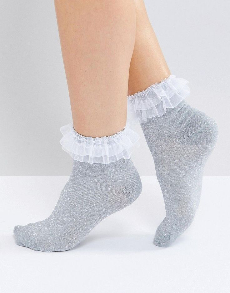 Get this Asos's basic socks now! Click for more details. Worldwide shipping. ASOS Organza Trim Glitter Socks - Silver: Socks by ASOS Collection, Fine glitter knit, Organza frill trim, Ankle length, Machine wash, 86% Nylon, 12% Metallised Fibres, 2% Elastane. Score a wardrobe win no matter the dress code with our ASOS Collection own-label collection. From polished prom to the after party, our London-based design team scour the globe to nail your new-season fashion goals with need-right-now…