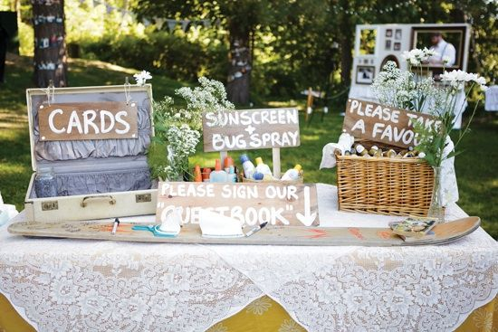 welcome table - card basket, sunscreen & bug spray, guestbook & favors! I  love the way this is set up!
