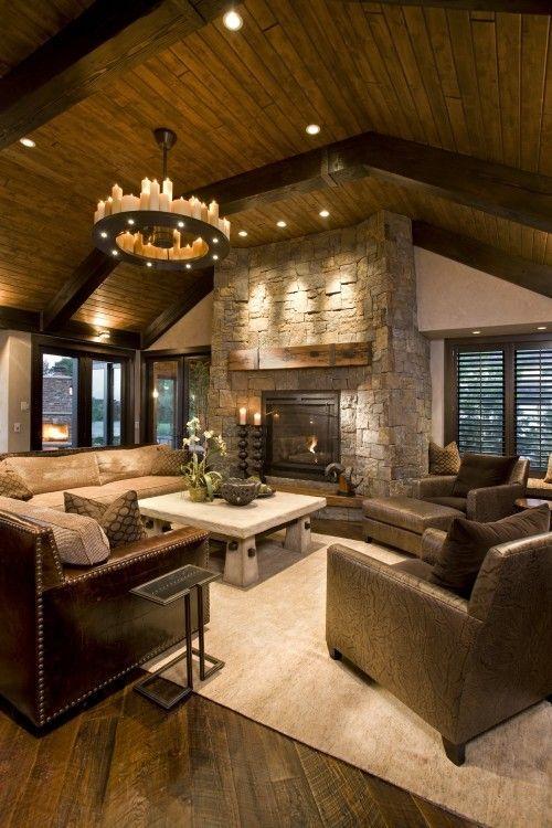 rustic living roomIdeas, Stones Fireplaces, Living Rooms, Livingroom, Dreams House, Family Rooms, High Ceilings, Wood Ceilings, Families Room