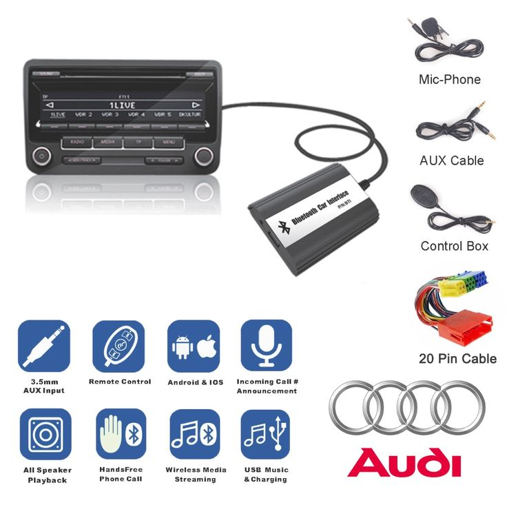 58.49$  Buy here - http://ali82e.shopchina.info/go.php?t=32806618728 - Bluetooth Receiver Car Kit Hands Free Phone Call Wireless Music Adapter for 1998-2006 Audi Chorus Concert Concert Symphony Delta 58.49$ #buymethat