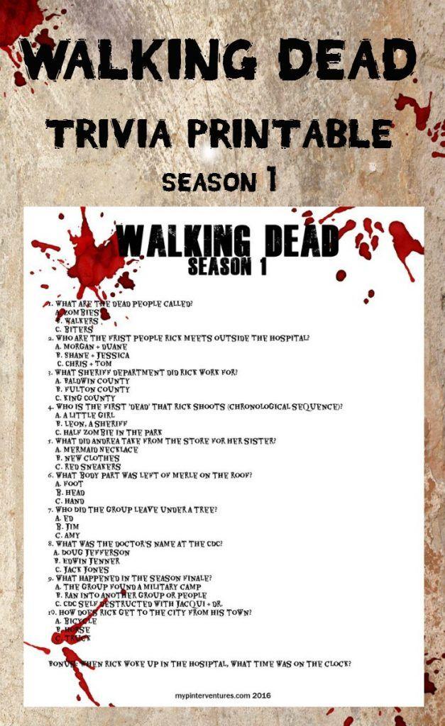 Walking Dead Trivia Printable - Season 1