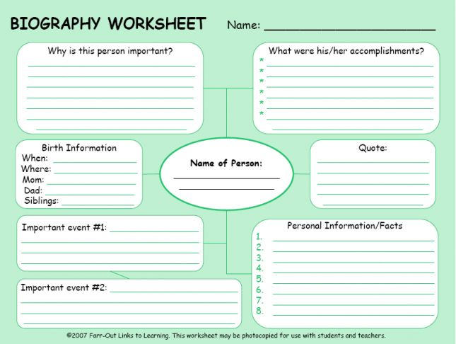 biography planner - cool for our heroes unit
