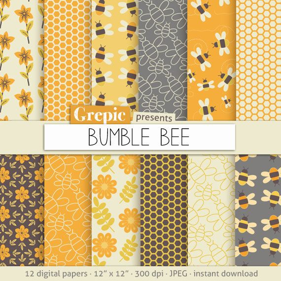 "Bee digital paper: ""BUMBLE BEE"" with bee images, honeycomb patterns, flowers and honey bees in orange and yellow for scrapbooking, cards"
