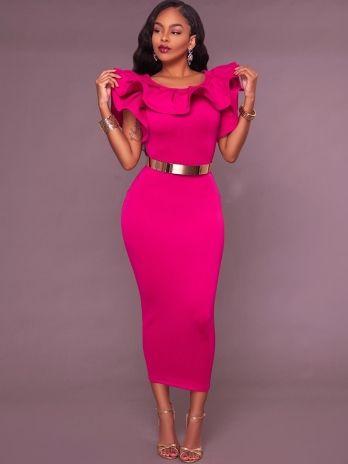 Solid Color Falbala Split Women's Bodycon Dress