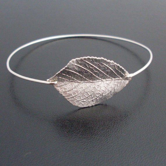 Bracelet jonc à feuille d'argent Bracelet feuille par FrostedWillow