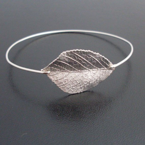 Silver Leaf Bangle Bracelet - A silver plated leaf has been transformed into a delicate silver leaf bracelet with a silver filled band. The perfect