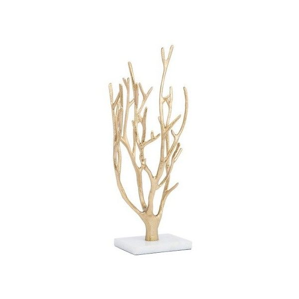 Gold Coral Jewelry Tree With Marble Base 67 Brl Liked On Polyvore Featuring Home Home Decor Jewelry Gold Jewelry Tree Jewelry Display Stands Jewelry Tree