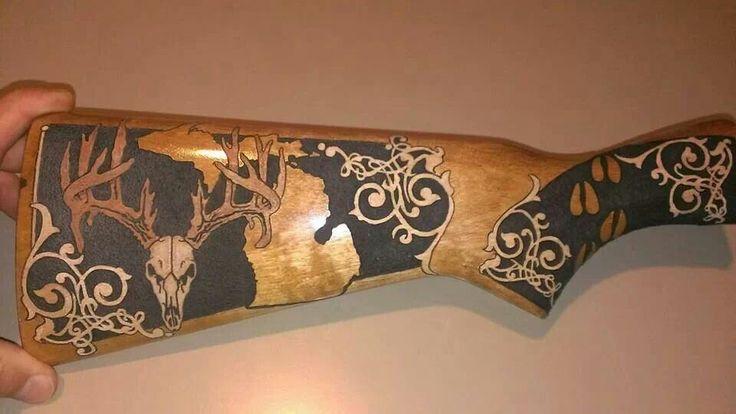 Engraved gun mmmm love wood pinterest guns