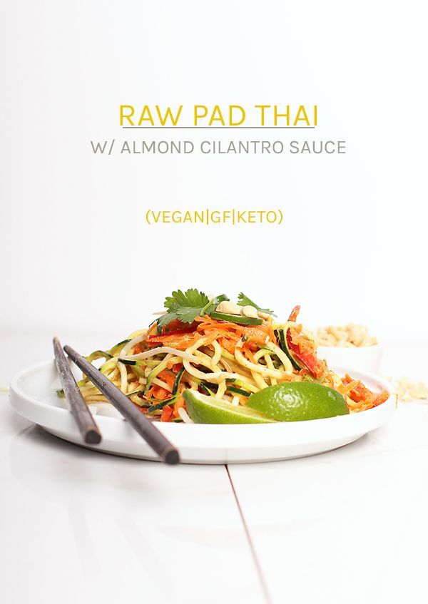 A healthy and refreshing salad, this vegan raw Pad Thai is made with zucchini noodles, carrots, bell…