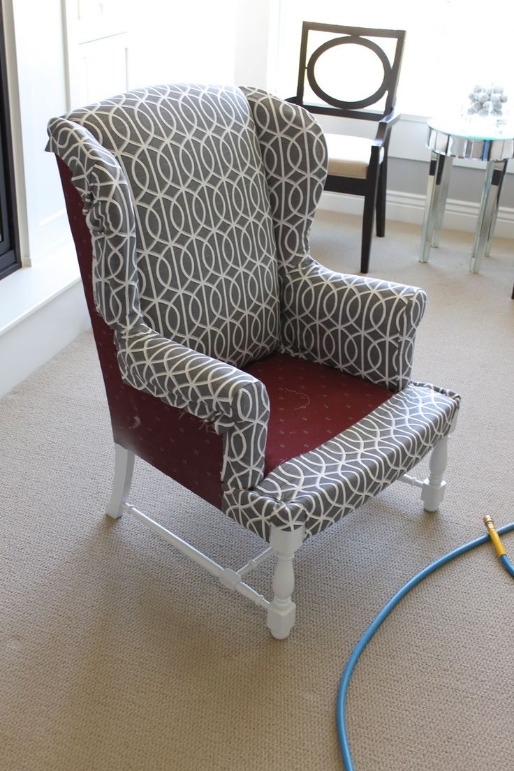 How to easily upholster a wing back chair! Like the fabric