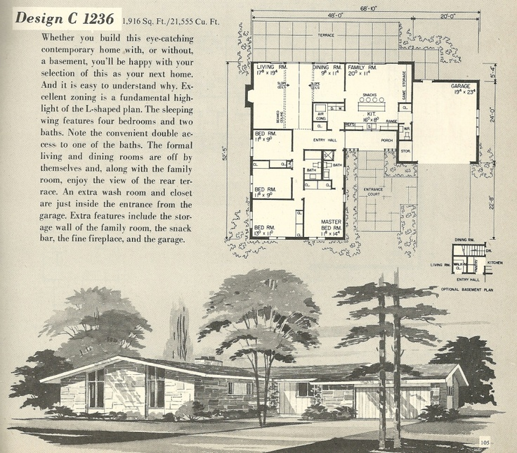 58 best Mid Century Home Plans images – Century Homes Floor Plans