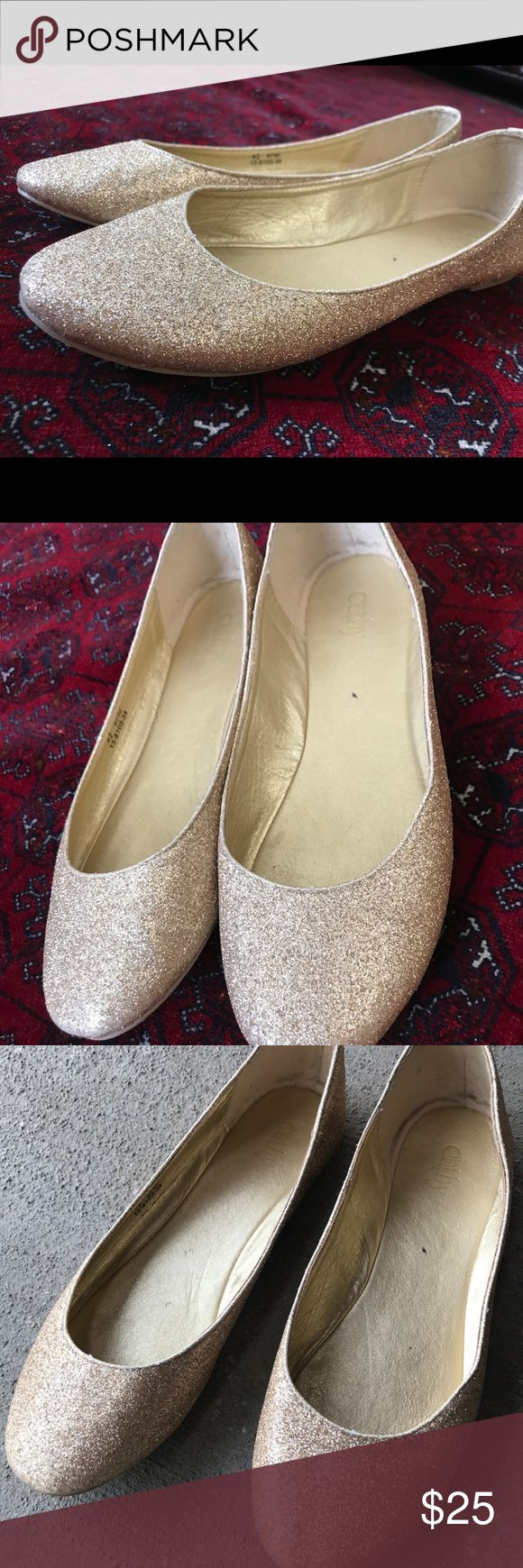 Cathy Gold Shimmer Glitter Flats Have been worn a little bit but honestly look great on! Glitter is very festive and fun!  Feel free to make an offer!  #Cute #fun #flirty #girly #flats #shoes #ootd #hot #sexy #route66 #boho #bohemian #bohoshoes #hippie #tribal #aztec #cute #freespirit #native #nativeamerican #hip #swag #rock #roll #bands #edgy #hot #sexy #fire #aldo #sale #clearance #holidays #xmas #Christmas #gift #glitter #glitterflats #ootd #shoes #aldo #festive #fun Cathy Jean Shoes…