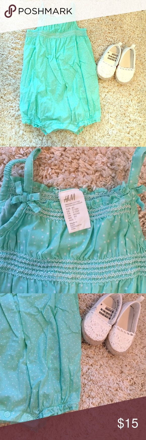 H&M Romper Turquoise with white polka dots. Worn only once! In perfect condition! NWT H&M shoes. *will sell shoes with other outfits* (see closet). $20 with shoes. H&M One Pieces