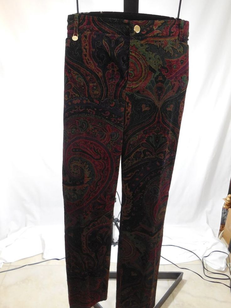 WOMANS COTTON BLEND PAISLEY PRINT VELVET PANTS RALPH LAUREN PLUS 16W $145 #RalphLauren #DressPants
