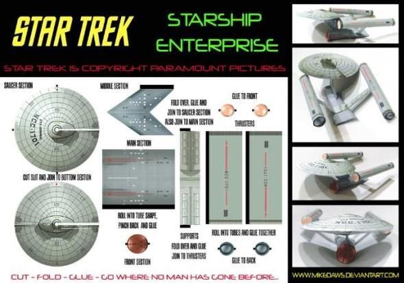 Star Trek - Starship Enterprise Paper Model - by Mike Daws - == - A papercraft model of the Enterprise, from Star Trek sci-fi tv series, created by North American designer Mike Daws. You need only one sheet of paper to build this miniature.