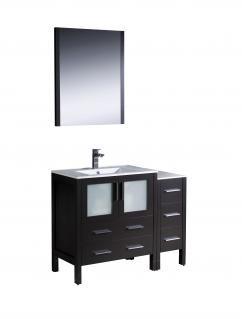 42 Inch Modern Single Sink Vanity in Espresso with Ceramic Top