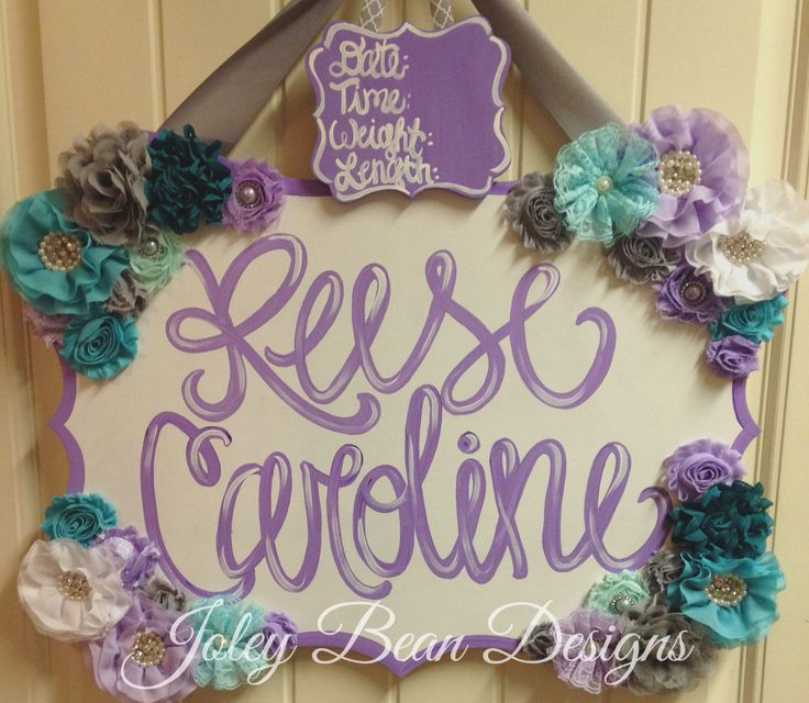 Baby girl door hanger, purple, teal, turquoise, hospital door hanger, joley bean designs