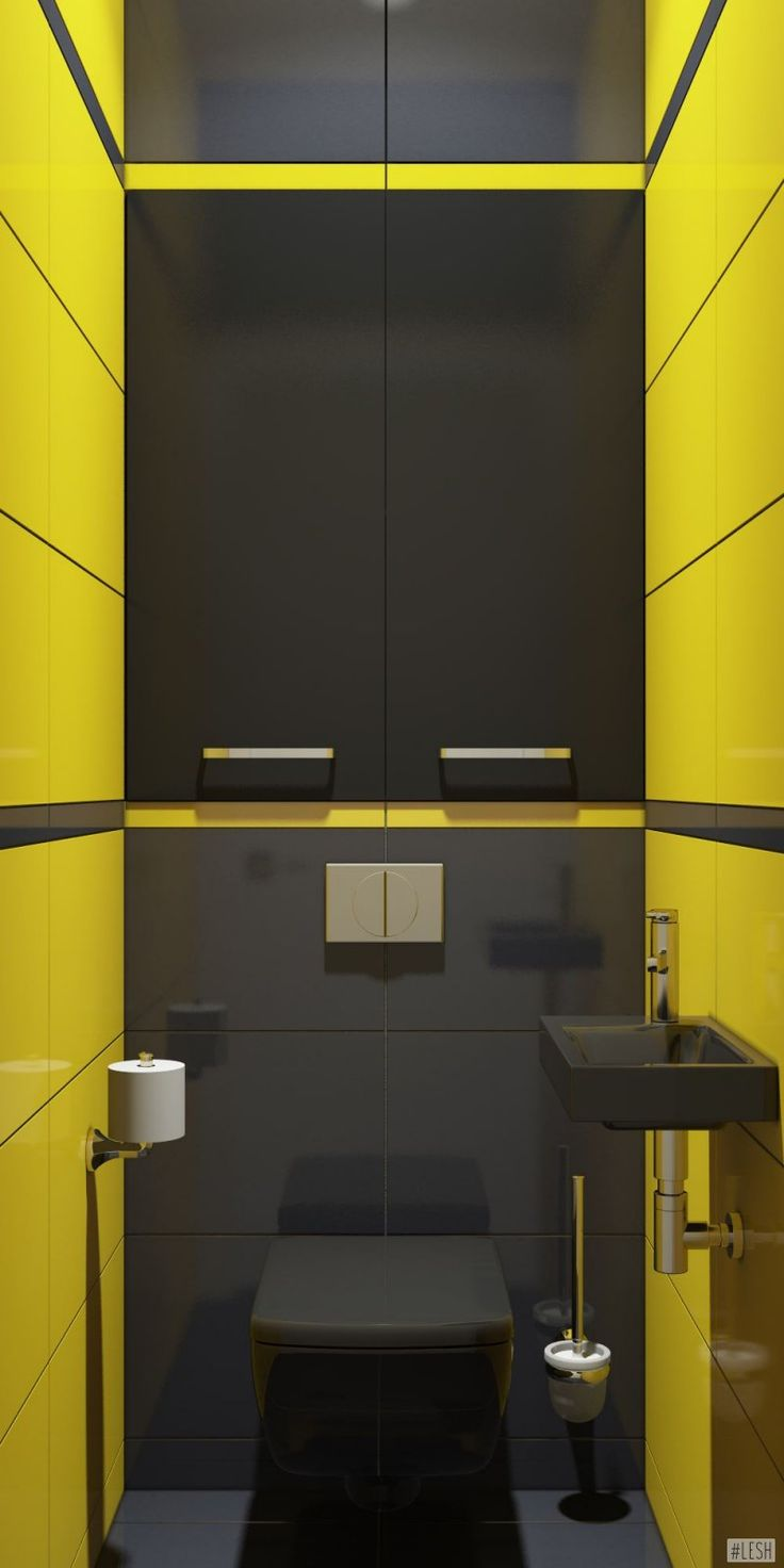 Черный унитаз и кафель в туалете