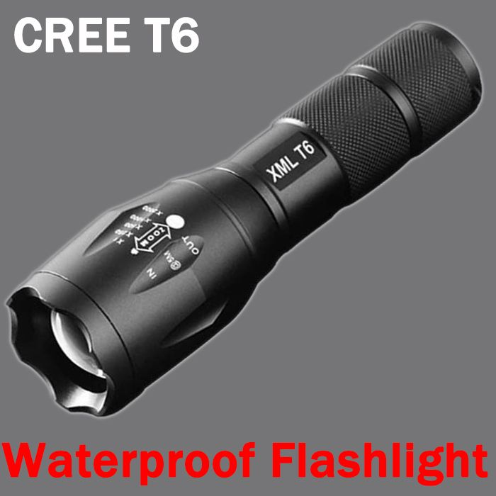 cree xm-t6 LED Flashlight 3800lumen zoomable led torch for 18650/AAA black Waterproof linterna led flashlights for Camping ZK92