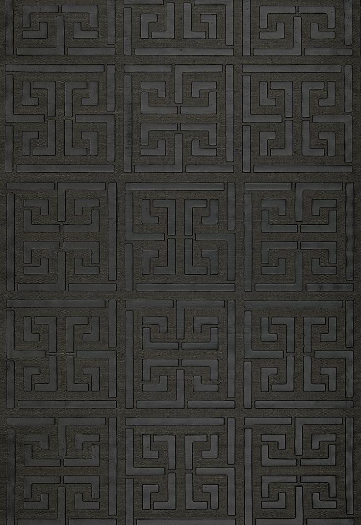 Wallcovering / Wallpaper Greek Key Sisal in Jet