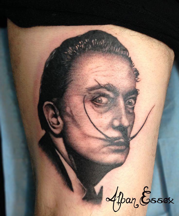 Portrait tattoo tatouage Dali - Alban Essex