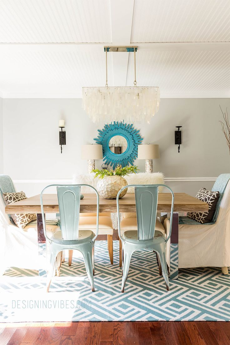 DIY dining room transformation. Rustic coastal dining room with source list.