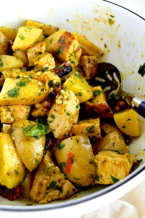 Curried Grilled Chicken Potato Salad is a pretty epic candidate for your next meal giving you an amazing variety of textures and flavors derived from some relatively simple ingredients,