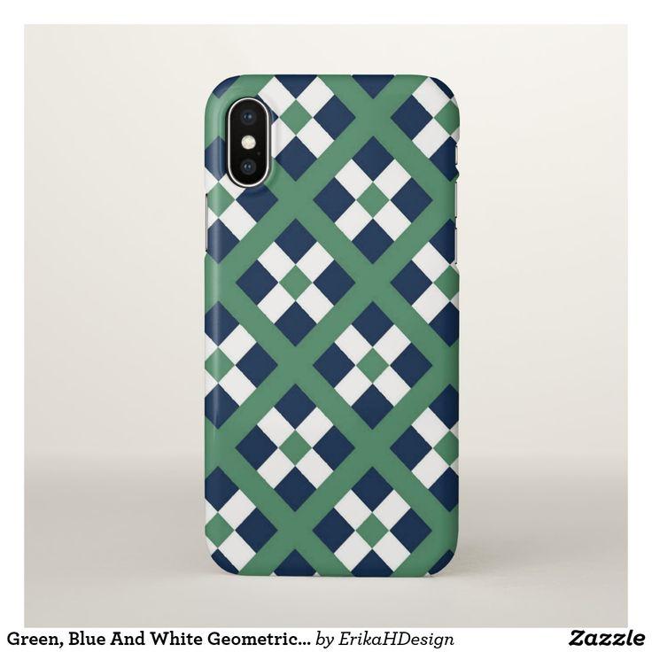 Green, Blue And White Geometric  Pattern