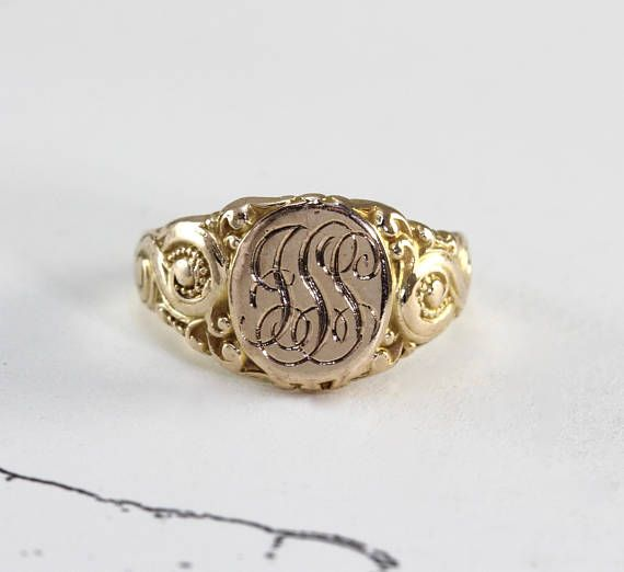 Antique Signet Ring Victorian 10k Yellow Gold Initial Ring Gold Initial Ring Victorian Jewelry Signet Ring