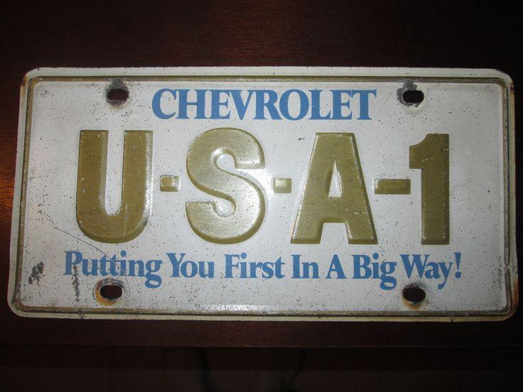 Vintage Chevrolet Usa-1 Dealer License Plate Corvette Chevelle Malibu Nova Ss