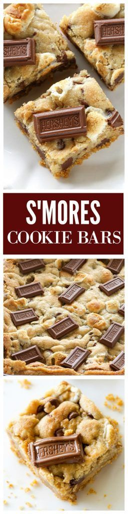 S'mores Cookie Bars - chocolate chip marshmallow cookie dough with a graham cracker crust. Seriously delicious.