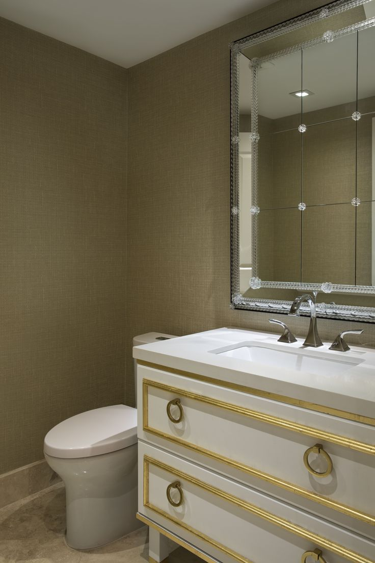 Designer: Sarah Zohar, Photo Credit: Paul Stoppi, The powder room at the Ocean Palms condo in Hollywood,FL