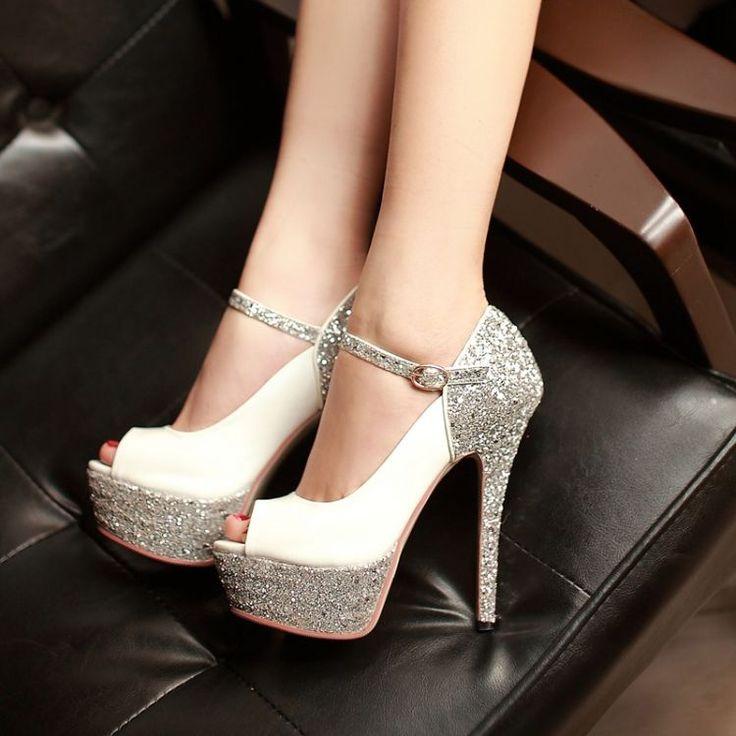 Sexy Stiletto Heels White Metallic Peep toe Pumps